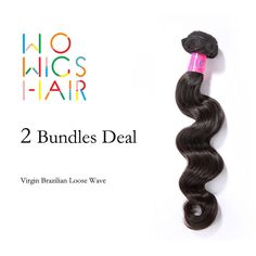 133.56$  Buy now - http://alirpk.worldwells.pw/go.php?t=32734455744 - Premium WoWigs Hair Brazilian Virgin Hair Loose Wave 2 Bundles Deal Natural Color 1B