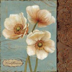 Tangletown Fine Art 'Windflower II' by Daphne Brissonnet Painting Print on Wrapped Canvas Tole Painting, Painting Prints, Wall Art Prints, Fine Art Prints, Poster Prints, Canvas Prints, Framed Wall Art, Canvas Wall Art, Big Canvas