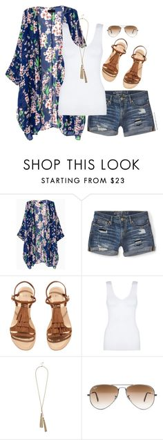 """Kimono, denim shorts & fringe sandals"" by steffiestaffie ❤ liked on Polyvore featuring Aéropostale, H&M, Hanro, GUESS and Ray-Ban"