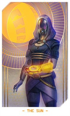 ME: Tali by Alteya, Mass Effect Fan Art, Digital Painting, Tarot Card Design, Illustration, Sci-Fi Rpg, Inspirational Art