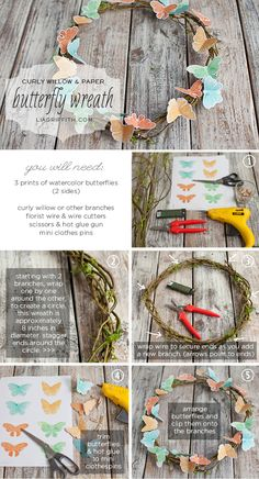 Butterfly Wreath Tutorial [includes free printable for butterflies]