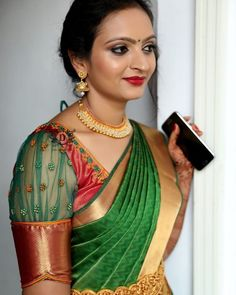 Saree Blouse Sleeve Designs Of This Year - Indian Fashion Ideas Best Blouse Designs, Wedding Saree Blouse Designs, Pattu Saree Blouse Designs, Simple Blouse Designs, Stylish Blouse Design, Netted Blouse Designs, Pattern Blouses For Sarees, Latest Saree Blouse Designs, Designer Blouse Patterns