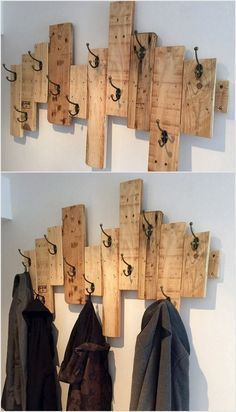 Recycled pallets with hooks.