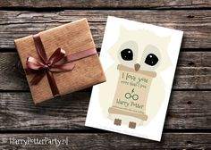 Super cute Harry Potter Valentines day printable card of a snowy owl with a scroll of parchment.