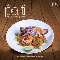 El arroz con mariscos puede recordar a la paella valenciana (pero no tiene nada que ver). Se hace con pulpo, langostinos, chipirones y mejillones en arroz cremoso. ¿La pruebas?