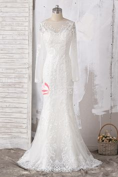 Ivory Customized Illusion Long Sleeve Patterned Lace Mermaid Wedding Dress  with Bustle Train. Lunss a376dfb92