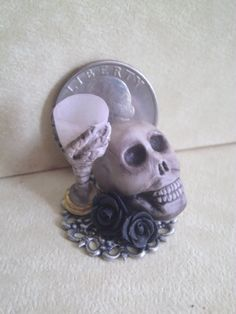 Dollhouse Miniature half scale skull and by CSpykersMiniatures, $14.99