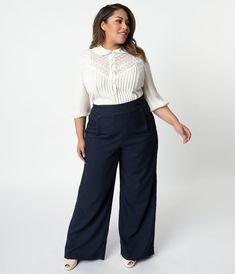 cdcf2ca8aa685 Unique Vintage Plus Size 1940s Navy High Waist Wide Leg Ginger Trousers  Trendy Plus Size Fashion