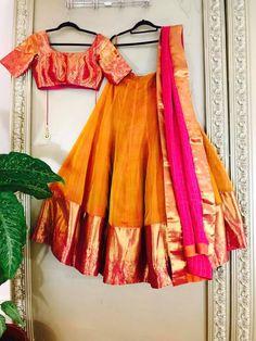 South Indian styled lehenga, this is stunningly beautiful Half Saree Designs, Choli Designs, Lehenga Designs, Half Saree Lehenga, Saree Dress, Anarkali, Sarees, Banarasi Lehenga, Lehenga Blouse