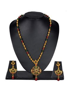 Adorable Gold N Red Stone Studded Necklace Set
