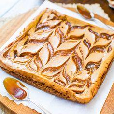 Salted Caramel Swirled-Pumpkin Cheesecake Bars