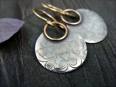 printed moon ... mixed metal earrings by sirenjewels on Etsy, $48.00