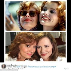 Susan Sarandon (Louise) and Geena Davis (Thelma) update their selfie. It's Hollywood, as long as the dead bodies are not shown, a sequel is always possible :P