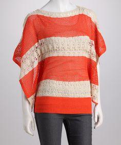 Orange Stripe Crochet Cape-Sleeve Sweater - Women