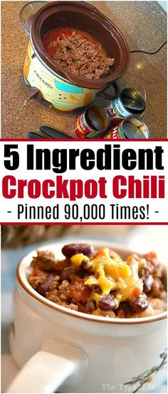 Easy 5 Ingredient Crock-Pot Chili -Just dump everything into your slow cooker in the morning, and enjoy at dinner! Serve inside baked potatoes or on top of rice for the perfect hearty dinner! Healthy Crockpot Recipes, Slow Cooker Recipes, Gourmet Recipes, Dinner Recipes, Crockpot Beef Chili, Chili Recipe Crockpot Best, Fast Crockpot Meals, Slowcooker Chili, Crock Pot Chilli Recipe