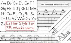 Select and print handwriting worksheets. The letters used in this large set resembles the Zaner-Bloser style of handwriting. Zaner Bloser Handwriting, Handwriting Alphabet, Handwriting Practice, Cursive, Tracing Letters, Preschool Letters, Alphabet Letters, Spanish Alphabet, Alphabet Crafts