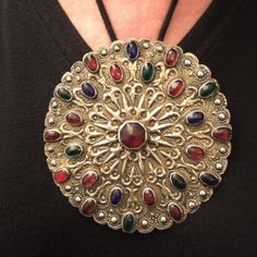 """The same button worn as a pendant... www.halter-ethnic.com...see """"My Lucky Finds"""""""