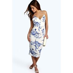 Boohoo Petite Heather Plunge Neck Printed Midi Dress (1 59065388a0f63