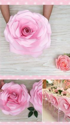 Large Paper Flowers, Tissue Paper Flowers, Big Flowers, Diy Wall Flowers, How To Make Flowers Out Of Paper, Paper Crafts Origami, Paper Flower Tutorial, Flower Decorations, Handmade Flowers