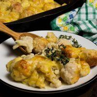 Creamy Cheddar Cauliflower And Meatball Bake