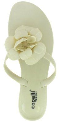 Capelli New York Jelly Hooded Upper Thong And Flower On Rose Jelly Outsole Ladies Flip Flop Nude 10