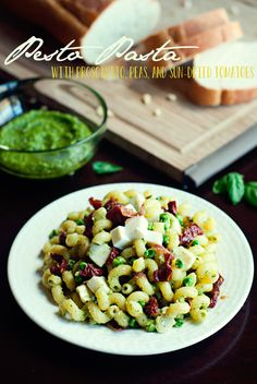 Pesto Pasta with Prosciutto, Peas, and Sun-Dried Tomatoes by Three in Three