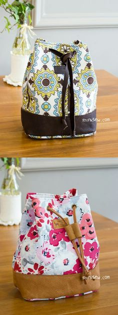 Natalie Bucket Pouch PDF Pattern - http://ithinksew.com