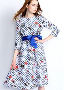 Doresuwe.com SUPPLIES 欧米セレブ愛用新品 2015秋 ファッション 水玉柄 プリント マキシワンピース デートワンピース (6)