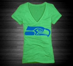 Seattle Seahawks T-Shirt for Women In Green With Blue Ink