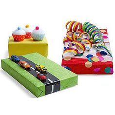 Skip the ribbons and bows. Make presents playful with these three super-fun ideas:  Sweet Surprise Top gifts with cupcakes made from mini liners and pom-poms.  Easy Street Create a road using black and white tape, then stick a few Matchbox cars in the lanes with removable adhesive putty.  Darling Decorations Cover a gift box in colorful party supplies like streamers and confetti.