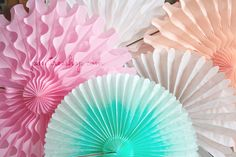 Party Decor Paper Fans .... Pick Your Colors // weddings // birthdays// party decorations // candy dessert buffet table  // peach coral aqua by pomtree on Etsy