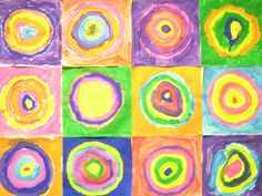 *Fun Art 4 Kids: Kandinsky's Circles! Each student makes one square. Then placed together to make a collaborative wall mural