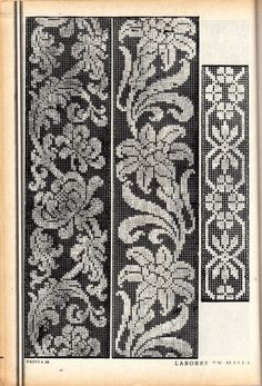 Gallery.ru / Фото #15 - 1 - gabbach Cross Stitch Borders, Cross Stitch Samplers, Cross Stitch Patterns, Border Embroidery Designs, Hand Embroidery, Knitting Charts, Knitting Patterns, Crochet Dollies, Fillet Crochet