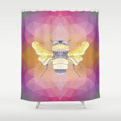 Oh Honey Bee Shower Curtain - Bumblebee, yellow, pink, art, illustration, decor, bath, bathroom, modern home