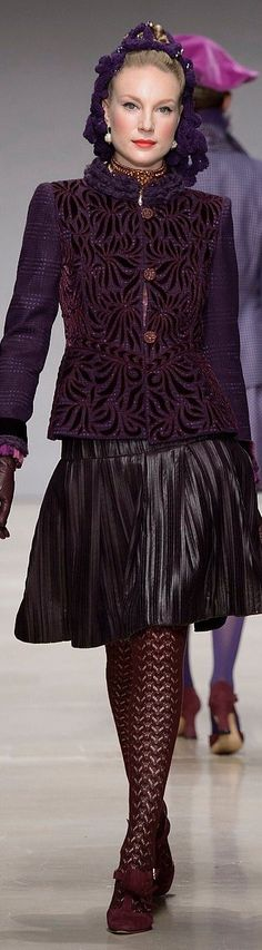 Curiel ~ Couture Deep Plum Embroidered Jacket w A-Line Midi Skirt FW 2015-16
