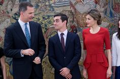 King Felipe VI of Spain (L) and Queen Letizia of Spain (R) meet Spanish figure skater Javier Fernandez (C) at Zarzuela Palace on April 22, 2016 in Madrid, Spain.