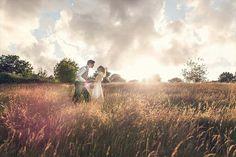 Rustic meadow wedding couple shot