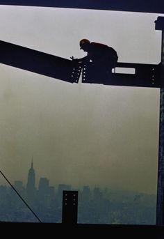 A view of a construction worker as he works of World Trade Center building in 1970 in New York City. (AP Photo/Eddie Adams)