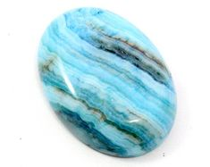 Light Blue Crazy Lace Agate. Oval Stone Cabochon for Using in Bead Embroidery Projects.