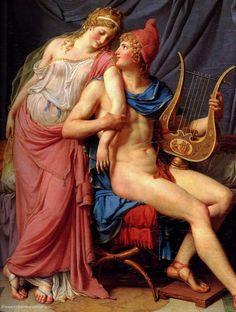 """THE LOVE OF HELEN and PARIS"" (1788) Artist: Jacques Louis Daivid, Oil on canvas, Louvre Museum (Paris)"