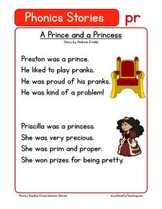 This Reading Comprehension Worksheet - A Prince and a Princess is for teaching reading comprehension. Use this reading comprehension story to teach reading comprehension. First Grade Reading Comprehension, Phonics Reading, Reading Comprehension Worksheets, Teaching Phonics, Phonics Worksheets, Reading Passages, Kindergarten Reading, Kids Reading, Reading Skills