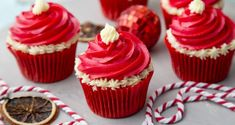Vanessa Greenwood's Christmassy red velvet cupcakes. Red Velvet Cupcakes, Mini Cupcakes, Natural Red Food Coloring, White Icing, Cooking Time, Cooking School, Cake Batter, Edible Art, Food And Drink