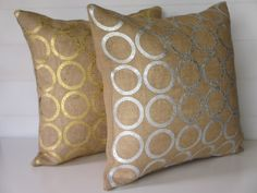 Burlap Pillow Cover Metallic Silver or Gold by ComfortsofHomeDecor, $25.00