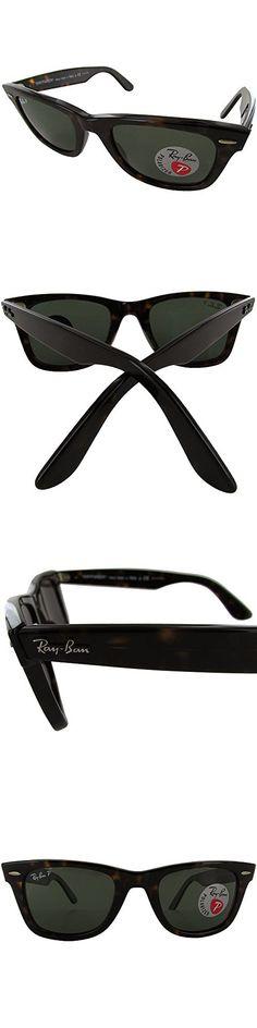 Ray-Ban RB2140 Original Wayfarer Classic Polarized Sunglasses, Tortoise frame/Crystal Green, 50 mm