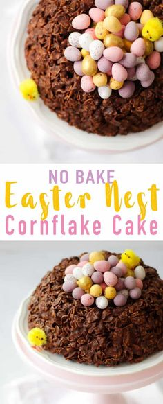 This easy GIANT Easter Nest Cornflake Cake Recipe is so much fun to make. Simple and really tasty, a fab no bake Easter make full of candy treats. It uses just 5 store cupboard ingredients - butter, chocolate, golden syrup and cornflakes. Topped with Min Eater Desserts, Köstliche Desserts, Delicious Desserts, Cereal Recipes, Cake Recipes, Dessert Recipes, Food Cakes, Cupcake Cakes, Cupcakes