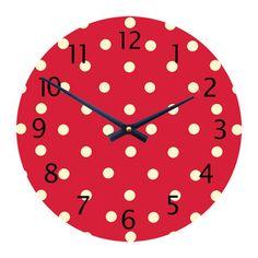Girls Red Dotty Clock