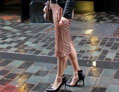 peach art deco sequin skirt