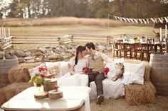 hay bale couch - wedding lounge