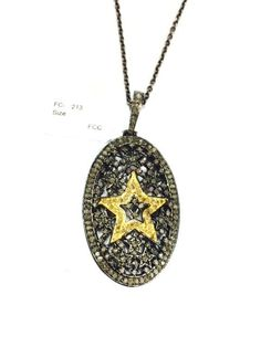 Sterling Silver Star Diamond Round Pendant Necklace, Diamond Necklace, Star Diamond Necklace, 925 Sterling Silver Diamond Necklace by Amitbardia on Etsy