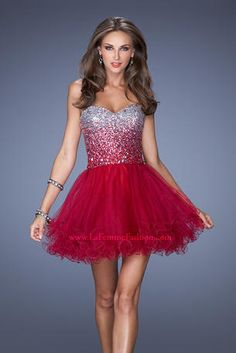 Fun and flirty tulle cocktail dress with a stunning ombre sequin and jeweled bodice. Back zipper.  La Femme Short Dresses - 19451